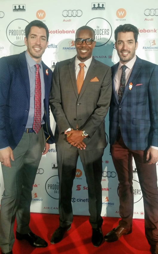"AL McFOSTER w/ Jonathan & Drew Scott of ""The Property Brothers"" at the 2015 Producers Ball during TIFF 2015 (Toronto International Film Festival)"